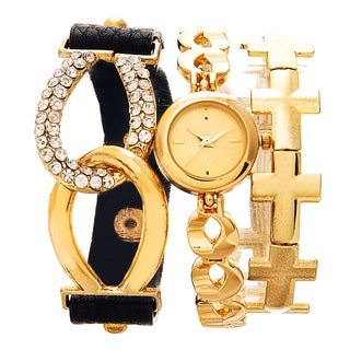 Via Nova Arm Candy Ladie's Fashion Gold Watch with a Set of 2 Bracelets
