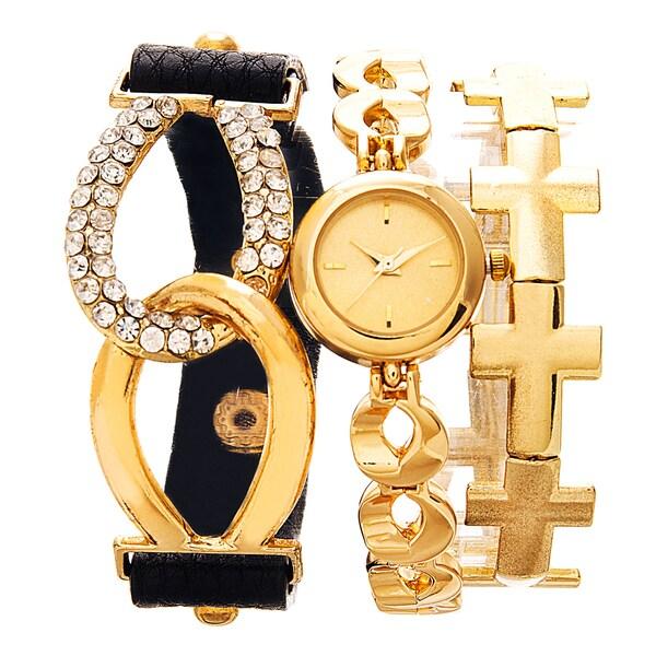Via Nova Arm Candy Ladie's Fashion Gold Watch with a Set of 2 Bracelets