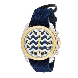 Fortune NYC Women's Goldtone Case Zig Zag Print Dial / Tweed Nylon Band