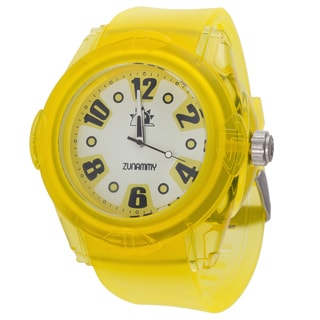 Zunammy Men's Round Case / Yellow Rubber Strap Watch