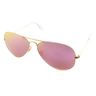 Ray Ban Aviator RB3025 Unisex Gold Frame Cyclamen Flash Lens Sunglasses