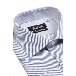 Teri Jon Pour Monsieur Men's Bentley Blue Stripe Egyptian Cotton Dress Shirt