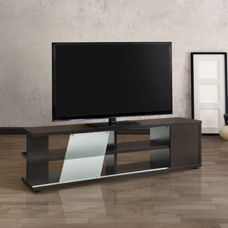 Furniture of America Glodell Contemporary Cappuccino Sliding Glass 72-inch TV Stand