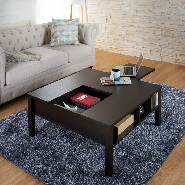 Attractive Furniture Of America Lettani Cappuccino Slide Out Coffee Table