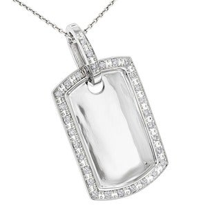 Luxurman 10k Gold 5/8ct TDW Diamond Dog Tag Pendant (H-I, SI1-SI2)