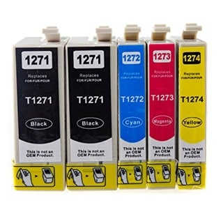 127 T127 Ink for Epson Stylus NX530 NX625 WorkForce 3520 635 3530 3540 7010 645 7510 7520 60 840 545 630 633 845 (Pack of 5)