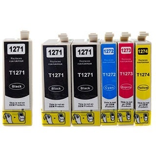 127 T127 Ink for Epson Stylus NX530 NX625 WorkForce 3520 635 3530 3540 7010 645 7510 7520 60 840 545 630 633 845 (Pack of 6)