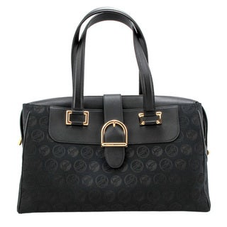 Chopard Medium Cloth and Black Grained Leather Shoulder Handbag