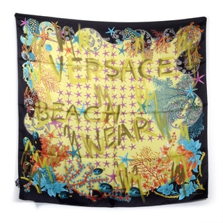 Versace Black and Yellow Beach Wear Square Silk Scarf