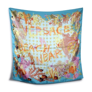 Versace Blue and Orange Beach Wear Square Silk Scarf