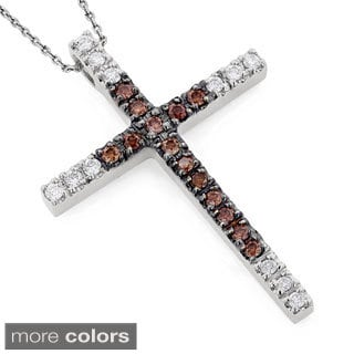 Luxurman 14k Gold 4/5ct TDW White and Brown Diamond Cross Pendant (H-I, SI1-SI2)