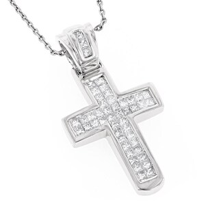 Luxurman 14k Gold 4/5ct TDW Princess-cut Diamond Cross Necklace (G-H, SI1-SI2)