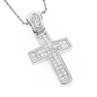 Luxurman 14k Gold 4/5ct TDW Princess-cut Diamond Cross Necklace (G-H, SI1-SI2)
