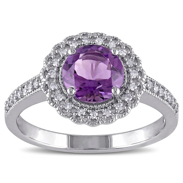 Miadora Sterling Silver Amethyst and 1/6ct TDW Diamond Halo Ring (G-HI, I2-I3)