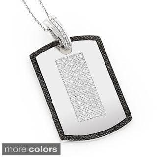 Luxurman 14k Gold 1 1/2ct TDW Black and White Diamond Dog Tag Pendant