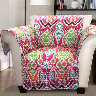 Lush Decor Jaipur Ikat Armchair Fuchsia Furniture Protector Slipcover