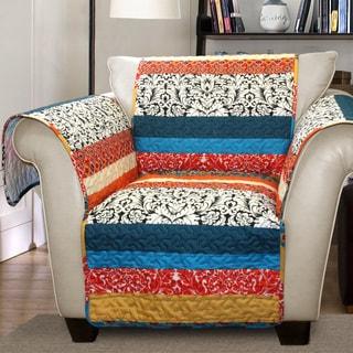Lush Decor Boho Stripe Armchair Turquoise/ Tangerine Furniture Protector Slipcover