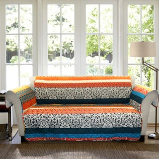 Lush Decor Boho Stripe Loveseat Turquoise/ Tangerine Furniture Protector Slipcover
