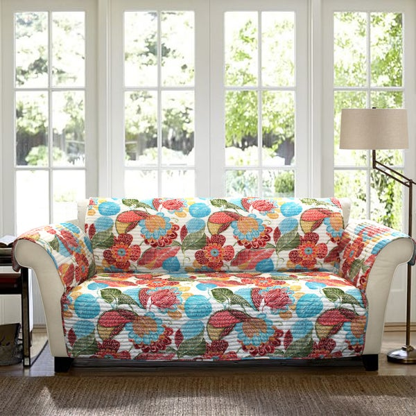 Lush Decor Layla Sofa Orange Blue Furniture Protector