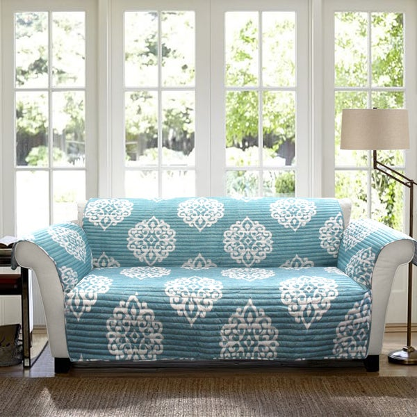 Lush decor sophie sofa blue furniture protector slipcover free shipping today Blue loveseat slipcover