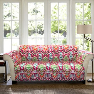 Lush Decor Jaipur Ikat Loveseat Fuchsia Furniture Protector Slipcover
