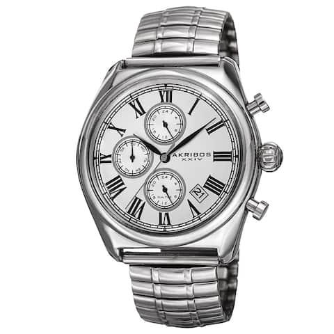 Akribos XXIV Men's Quartz Multifunction Dual-time Stainless Steel Expanding Silver-Tone Bracelet Wat - silver