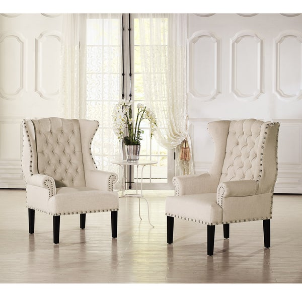 Baxton Studio Patterson Wingback Beige Linen And Burlap