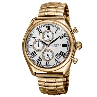 Akribos XXIV Men's Quartz Multifunction Dual-time Stainless Steel Expanding Gold-Tone Bracelet Watch with FREE GIFT - Gold