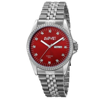 August Steiner Men's Quartz Diamond Markers Stainless Steel Red Bracelet Watch