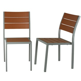 Cortesi Home Avery Aluminum Outdoor Chair in Poly Teak & Silver, Set of 2