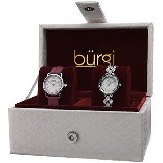 Burgi Women's Swarovski Crystal Quartz Leather Silver-Tone Strap/Bracelet Watch Set with FREE GIFT - Silver