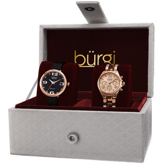 Burgi Classic Women's Quartz Multifunction Diamond Rose-Tone Strap/Bracelet Watch Set