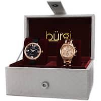 Burgi Classic Women's Quartz Multifunction Diamond Rose-Tone Strap/Bracelet Watch Set - Gold