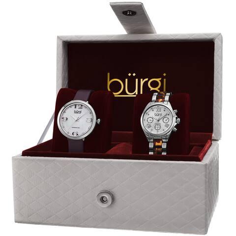 Burgi Classic Women's Quartz Multifunction Diamond Silver-Tone Strap/ Bracelet Watch Set - silver