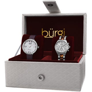 Burgi Classic Women's Quartz Multifunction Diamond Silver-Tone Strap/ Bracelet Watch Set