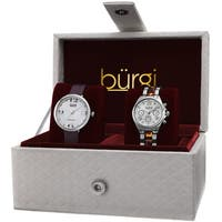 Burgi Classic Women's Quartz Multifunction Diamond Silver-Tone Strap/ Bracelet Watch Set - silver