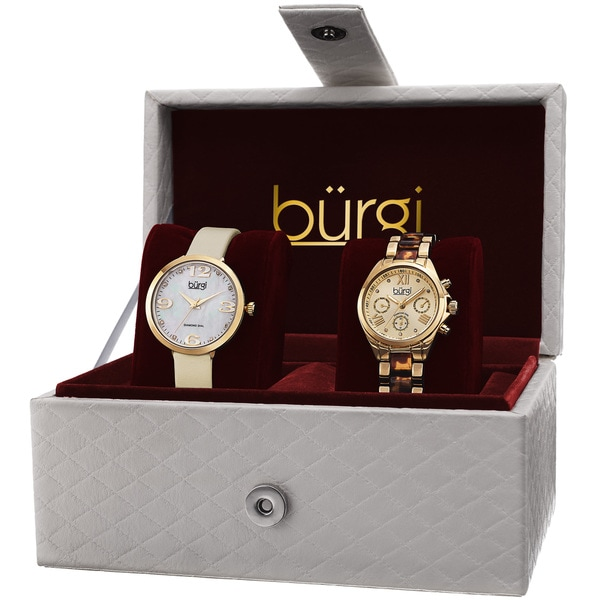 Burgi Classic Women's Quartz Multifunction Diamond Gold-Tone Strap/ Bracelet Watch Set - Gold