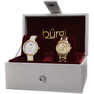 Burgi Classic Women's Quartz Multifunction Diamond Gold-Tone Strap/ Bracelet Watch Set with FREE GIFT - Gold|https://ak1.ostkcdn.com/images/products/10227976/P17348828.jpg?impolicy=medium