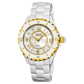 Burgi Women's Quartz Step Dial Ceramic White Bracelet Watch