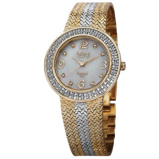 Burgi Women's Swiss Quartz Diamond Mesh Two-Tone Bracelet Watch