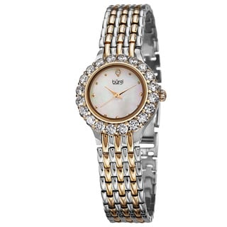 Burgi Women's Swiss Quartz Crystal-Accented Two-Tone Bracelet Watch with FREE GIFT