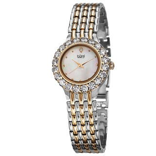 Burgi Women's Swiss Quartz Crystal-Accented Two-Tone Bracelet Watch with FREE GIFT|https://ak1.ostkcdn.com/images/products/10227980/P17348831.jpg?impolicy=medium