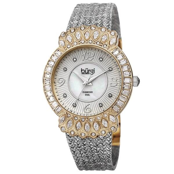 Burgi Exquisite Women's Quartz Diamond Silver-Tone Bracelet Watch with FREE GIFT - Silver