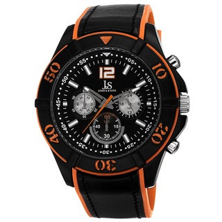 Joshua & Sons Men's Quartz Chronograph Double Layer Orange Strap Watch