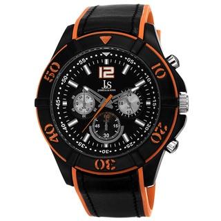 Joshua & Sons Men's Quartz Chronograph Double Layer Orange Strap Watch