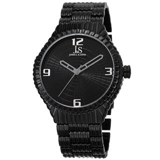 Joshua & Sons Men's Quartz Etched Pattern Dial Edgy Black Bracelet Watch