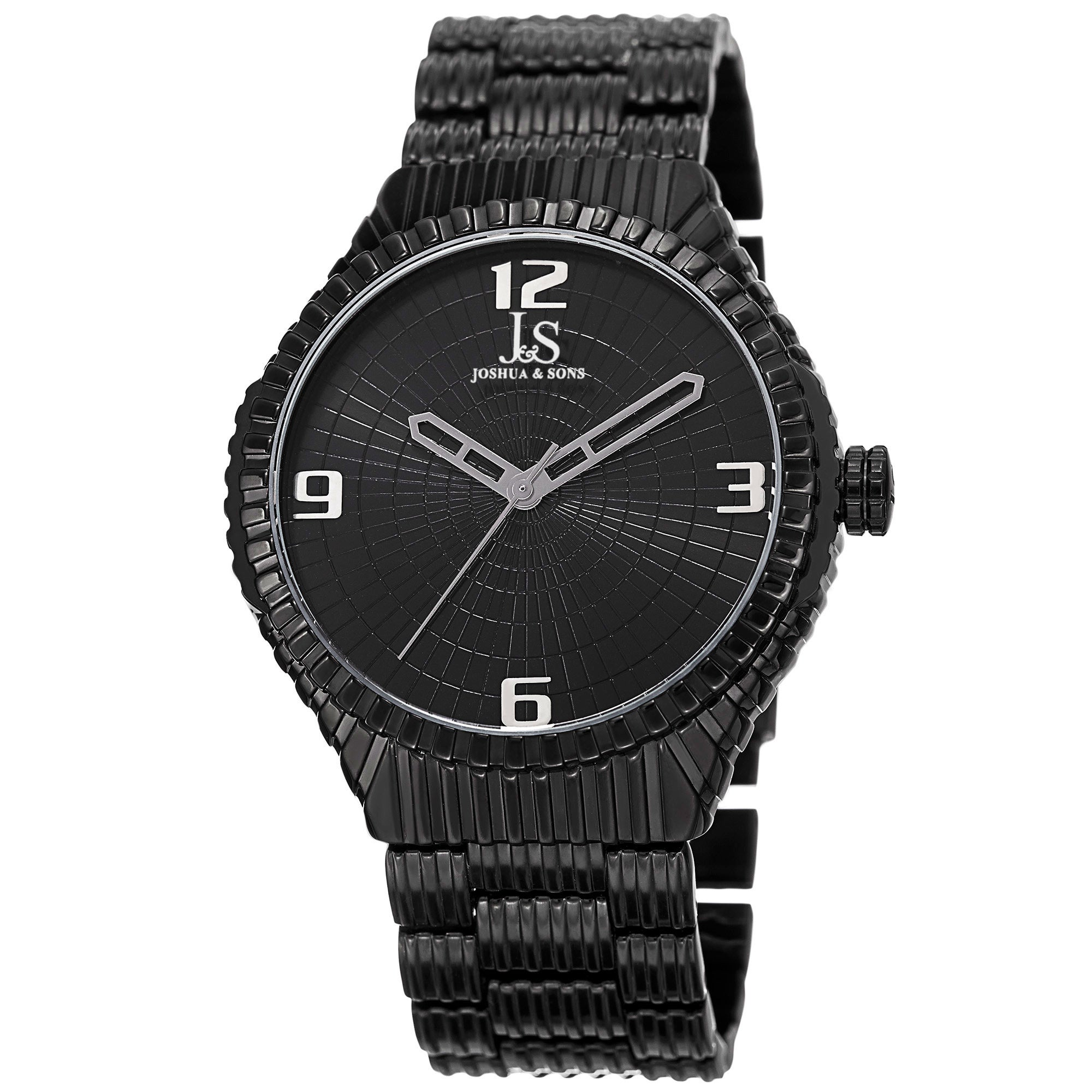 J&S Men's Quartz Etched Pattern Dial Edgy Bracelet Watch ...