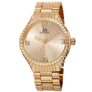Joshua & Sons Men's Quartz Etched Pattern Dial Edgy Gold-Tone Bracelet Watch