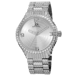 Joshua & Sons Men's Quartz Etched Pattern Dial Edgy Silver-Tone Bracelet Watch