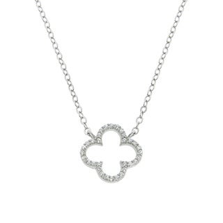 Eternally Haute Sterling Silver Pave Cubic Zirconia Open Clover Necklace